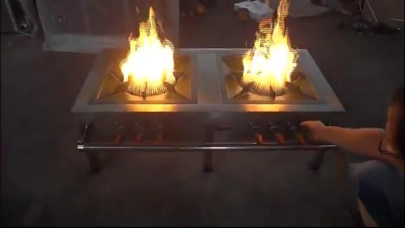 Промышленная газовая плита из нержавеющей стали двойная кухонная плита плита со сжиженным газом энергосберегающая кухонная