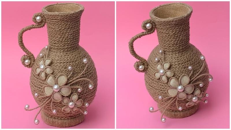 DIY Jute Rope Flower Vase Making Jute Vase At Home Burlap Rope vase
