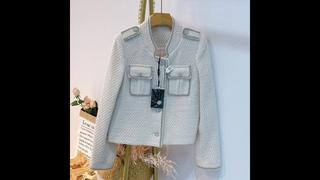 Белая твидовая куртка с укороченным топом, осень зима 2020, однобортная женская шерстяная куртка с воротником стойкой и пальто,