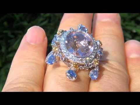 UNIQUE Morganite, Blue Yellow Sapphire Diamond Ring - Solid 18K Gold - eBay Estate Sale