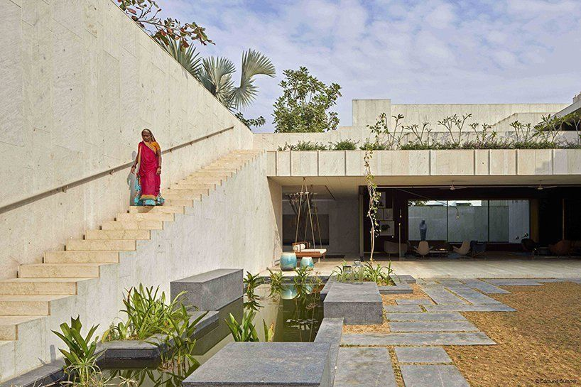 sandstone house in ahmedabad, india, by SPASM features secret gardens
