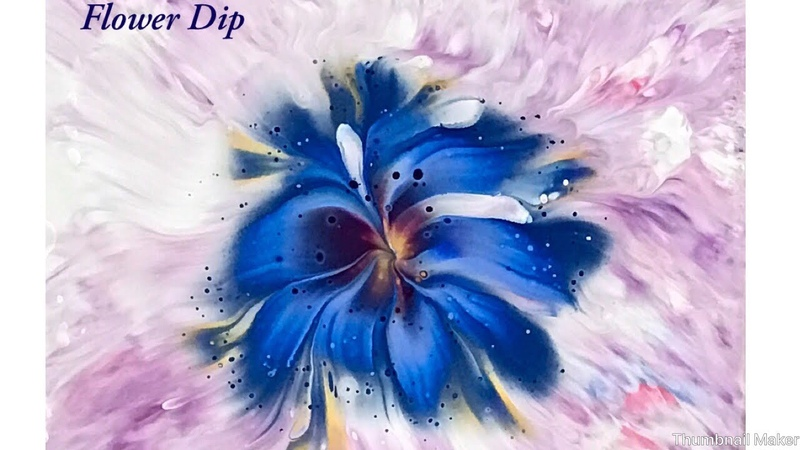 (307) Reverse Flower dip pour painting with plastic.