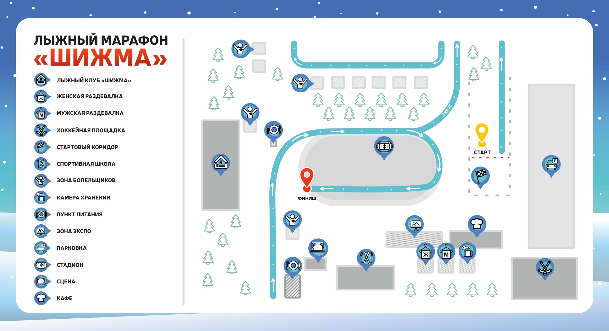 Карта-схема старта-финишного городка лыжного марафона Шижма 2020