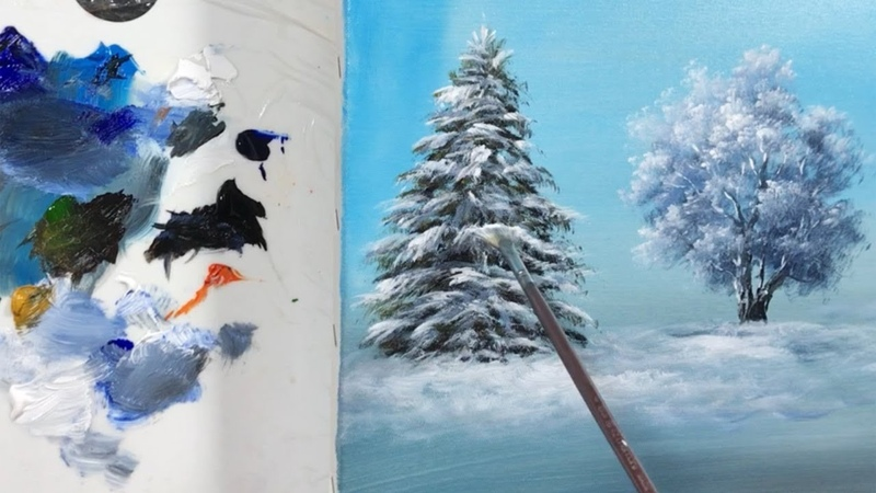 How to Draw a Winter PineTree with Fan Brush - Lesson 19