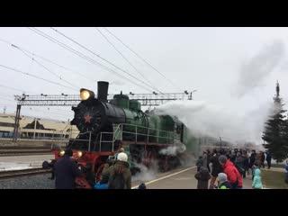 Прибытие ретро-поезда Рускеальский Экспресс в Великий Новгород