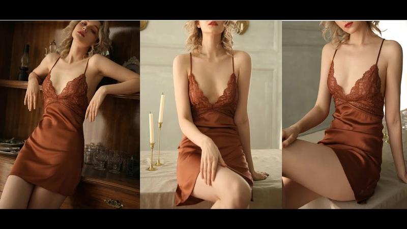 Новая летняя женская шелковая ночная рубашка CINOON женское сексуальное нижнее белье атласная пижама с кружевной чашкой V образная Пижама домашняя одежда