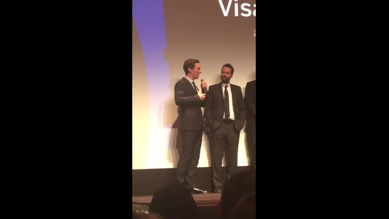 Benedict talking on stage at the premiere of The Current War 2 of 3