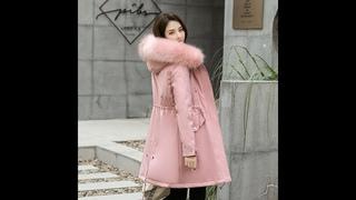 Lingwave/зимняя новинка; тонкая хлопковая куртка пуховик с капюшоном и большим меховым воротником; толстая теплая парка с