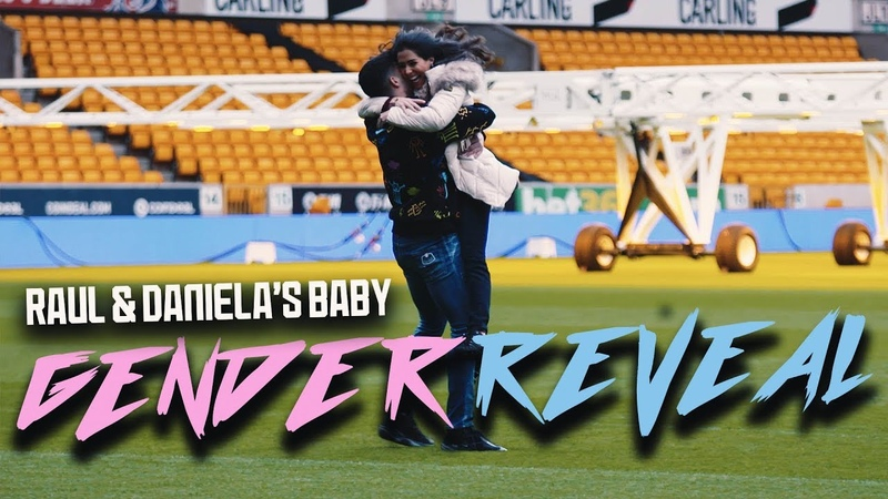 Raul Jimenez and his girlfriend Daniela Basso find out their baby's gender at Wolves' stadium
