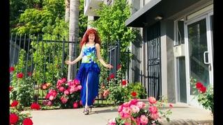Blue chiffon double layer skirt with slit & ruffle. Ameynra fashion. Sofia Goldberg