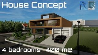 House design: 4 bedrooms - 400 m2