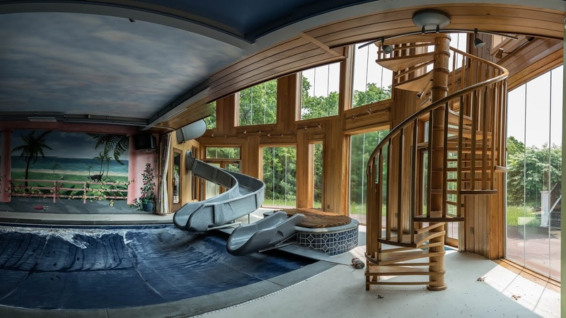 Abandoned MTV Mega Mansion Indoor Waterslide Home Theater more
