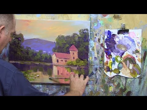 Learn To Paint TV E59 French Farmhouse on River Acrylic Painting in French Impressionist Style