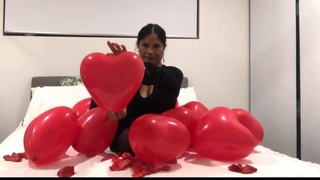 Red Heart Balloons 🎈 Happy Valentine's Day   Blowing Balloons Just For You!!