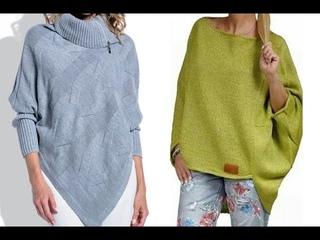 Подборка интересных моделей вязаных женских джемперов, свитеров и пуловеров