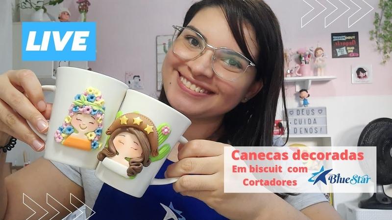 Canecas decoradas Biscuit LIVE Completa com cortadores Bluestar
