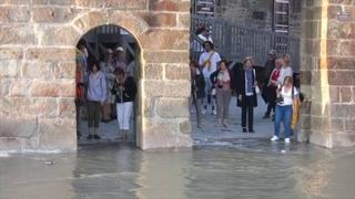 Tidal flood of Mont Saint Michel, France