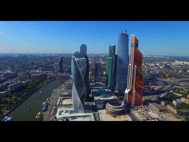 Москва Сити полет вид сверху