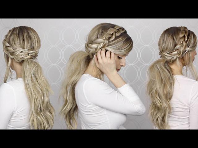HOW TO Voluminous Messy Ponytail Braid Detailing Long medium hair