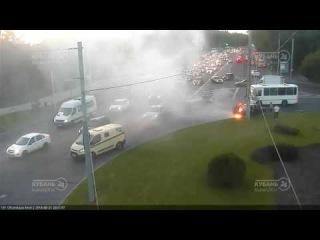 Возгарание авто на ул. Офицерской и Ростовском шоссе