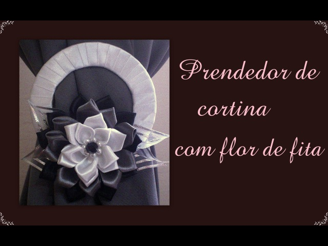 Prendedor de cortina com flor de fita de cetim Catch curtain with flower satin ribbon