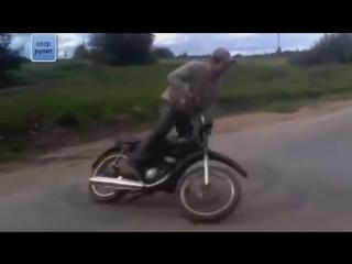 Самые невероятные мото приколы и случайные трюки на советских мотоциклах