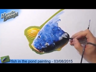 Fish in the pond painting - 3d art