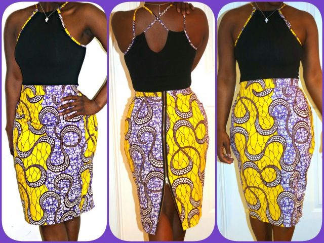 Part 1of 2 PINTREST DIY ZIPPER BACK PENCIL SKIRT WITH ANKARA FABRIC AFRICAN MATERIAL BEGINNER SEWING