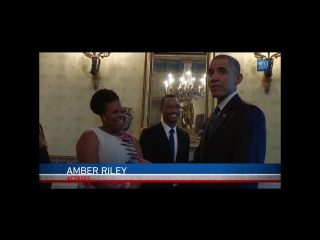 Amber Riley greeted by President Barack Obama at the White House Student Film Festival (March 20, 2015)