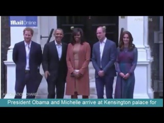President Obama and Michelle arrive at Kensington palace for dinner