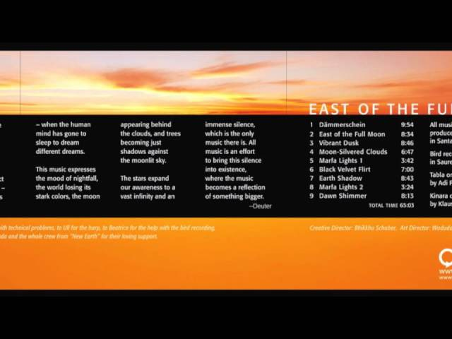 Music of the Night: East of Full Moon by Deuter - Official Release - New Earth Records