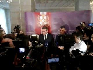Первый брифинг врио губернатора Омской области Александра Буркова