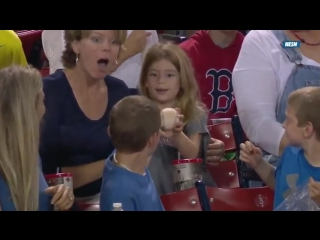 Smooth kid gives foul ball to pretty girl sitting behind him