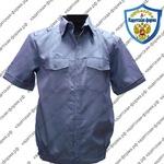 сорочка рубашка для кадетов короткими рукавами серо голубая