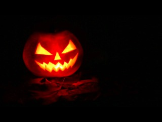 Traditional Jack-o'-lantern with Dark Night Ambience Sounds (for Halloween)