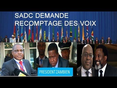 SADC DEMANDE RECOMPTAGE KABILA ET FELIX UNION FALULU DEMANDE RECOMPTAGE