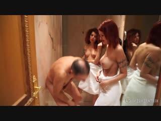 Topless sauna ballbusting