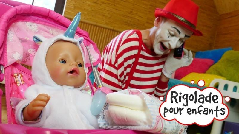 Vidéo drôle avec Barbie et le mime. Rigolade pour enfants. Promenade de bébé born