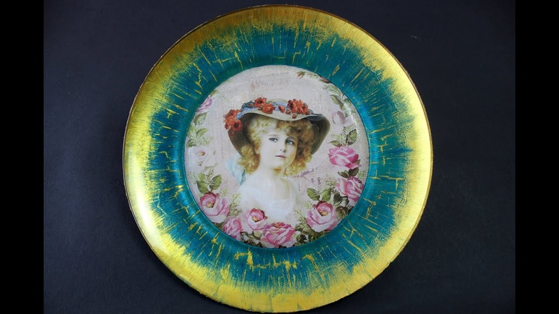 REVERSE DECOUPAGE ON GLASS PLATE