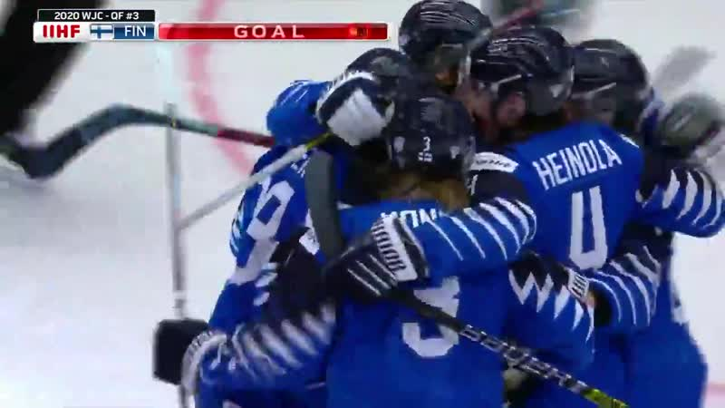 Team Finlands Joonas Oden blasts a shot past USAs Spencer Knight and its 1 0 Finland @leijonat WorldJuniors