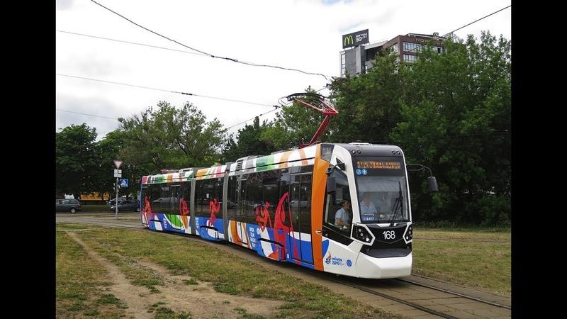 Трамвай Минска БКМ Stadler B85300M Метелица борт.№ 168 марш.7 03.07.2019