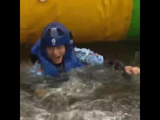 taehyung's face after he jumped too hard & fell to the water, the way they dragged him out of the water #tae_updates