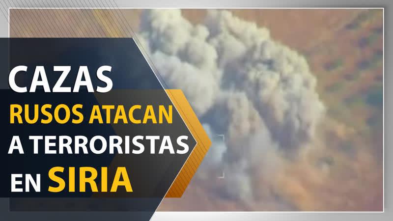 Cazas rusos golpean objetivos terroristas en Idlib Siria