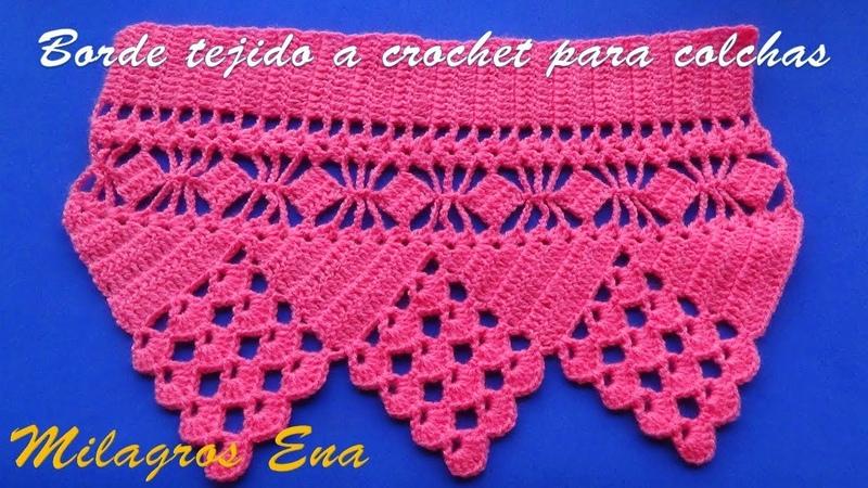 Borde, orilla o cenefa tejido a crochet para colchas o cubrecamas paso a paso