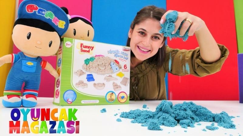 Pepee ve Şila kinetik kum seti alıyor! Oyuncak mağazası yeni bölümü