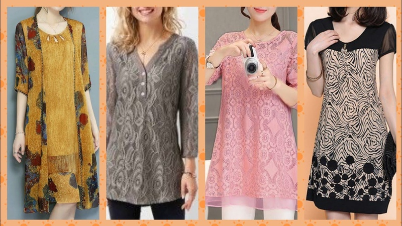 Outstanding casual wear knee length lase and shiffon blouse collection 2019