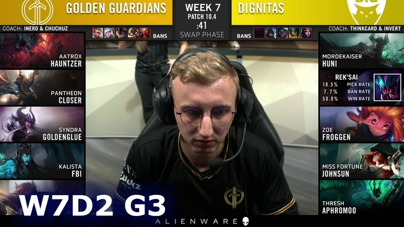 Golden Guardians vs Dignitas Week 7 Day 2 S10 LCS Spring 2020 GG vs DIG W7D2