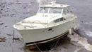 09-07-2019 - Plymouth, MA - 35-Foot Cabin Cruiser Washes Ashore-Drifted 7 Miles- Hurricane Dorian