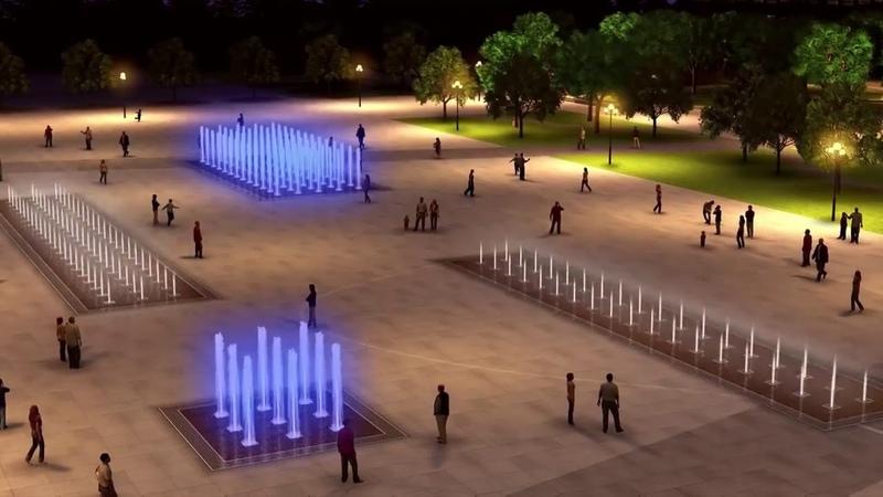 Модель верхних фонтанов Центральной площади Ижевска