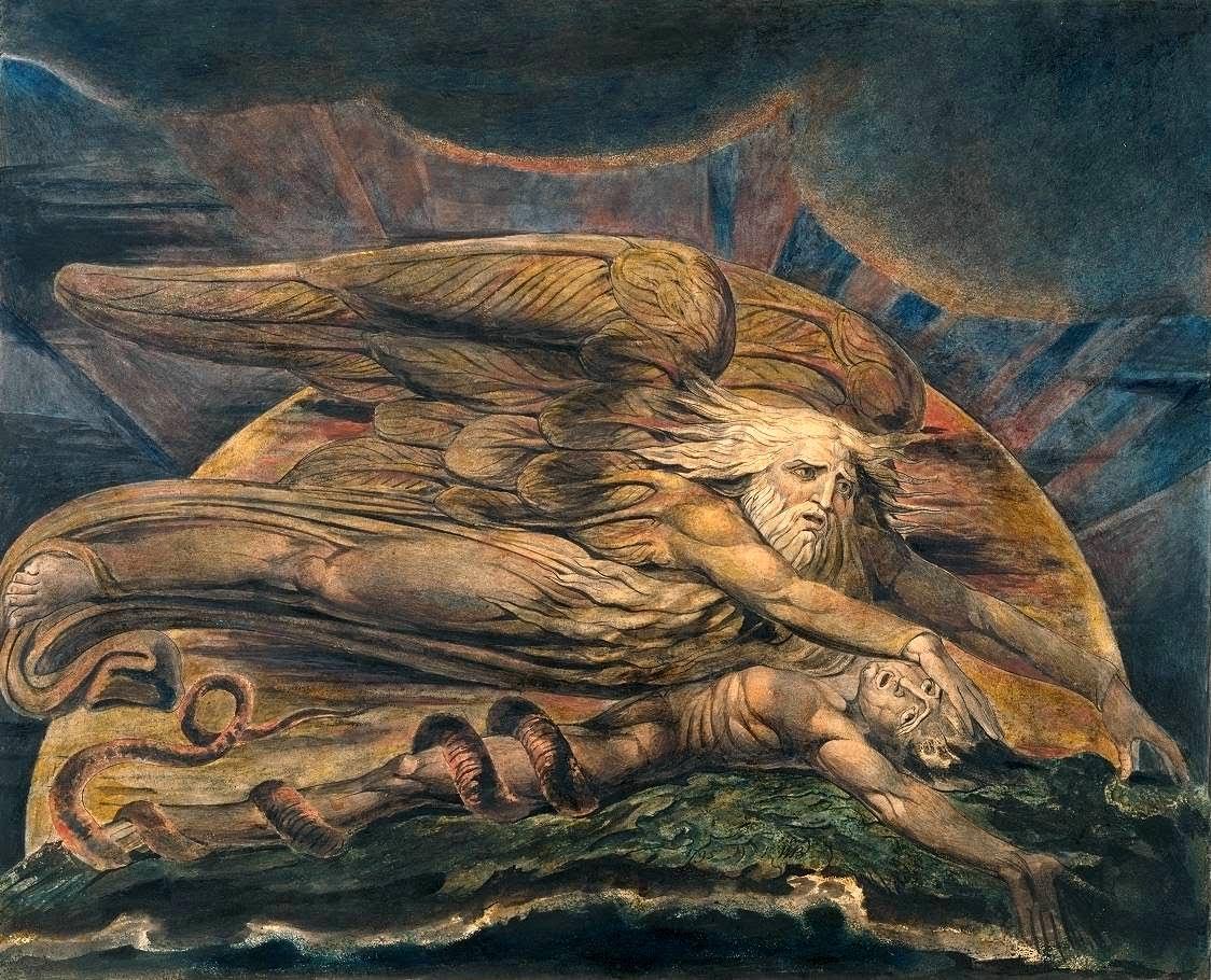 """Картина Уильяма Блейка """"Элохим создаёт Адама"""". Присутствовала на обложке одного из изданий """"дивного нового мира"""", и мне кажется, весьма подходит для иллюстрации романа."""